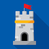 Vector illustration of a medieval tower against a blue background in flat style.