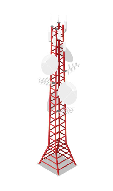 TV tower isometric 3D icon TV tower isometric 3D icon. Digital technologies, broadcasting device, equipment for network communication vector illustration repeater tower stock illustrations