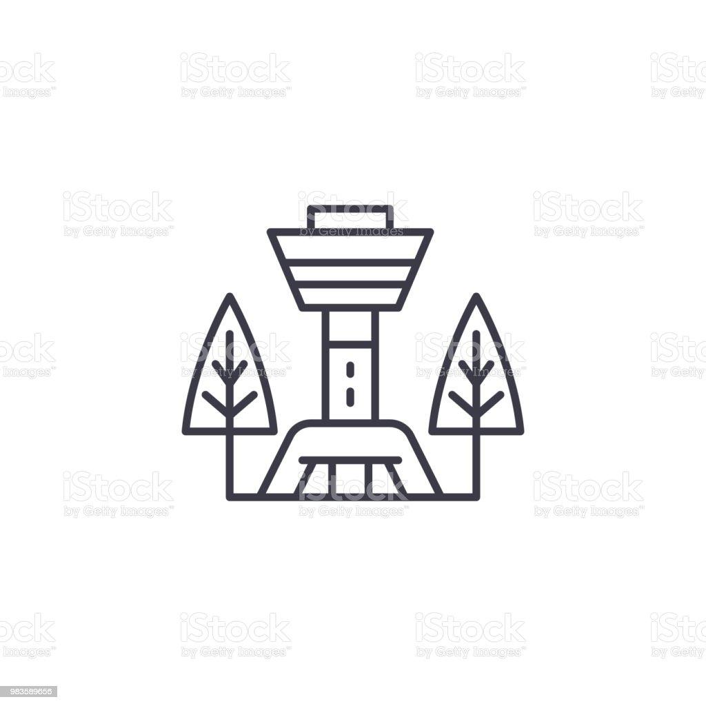 TV-Turm-lineare Symbol-Konzept. Fernsehturm Linie Vektor Zeichen, Symbol, Illustration. – Vektorgrafik