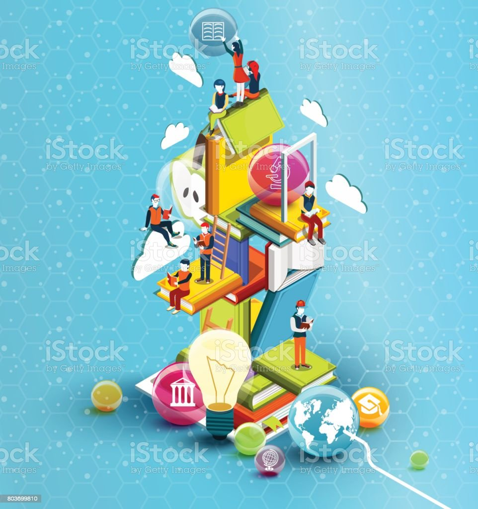 A tower of books with reading people.  Educational concept. Online library. Online education isometric flat design on blue background. Vector illustration vector art illustration