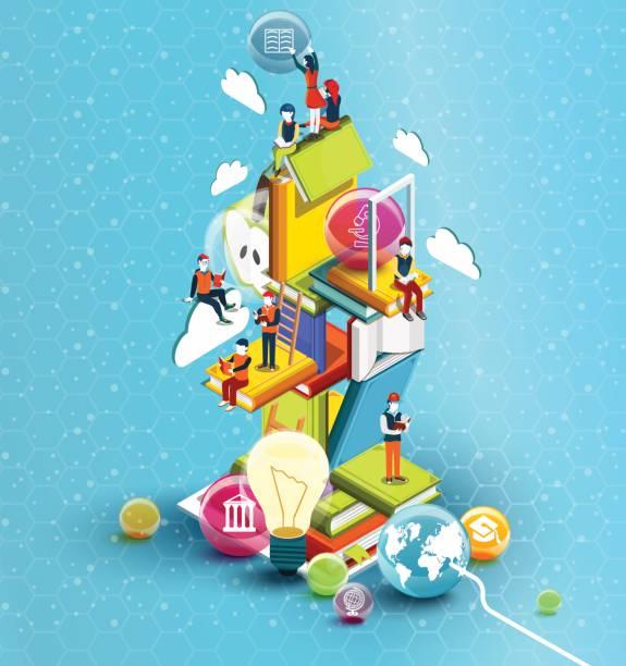 ilustrações, clipart, desenhos animados e ícones de uma torre de livros com pessoas de leitura.  conceito educacional. biblioteca on-line. isométrica design plano de educação on-line sobre fundo azul. ilustração vetorial - aula de ciências