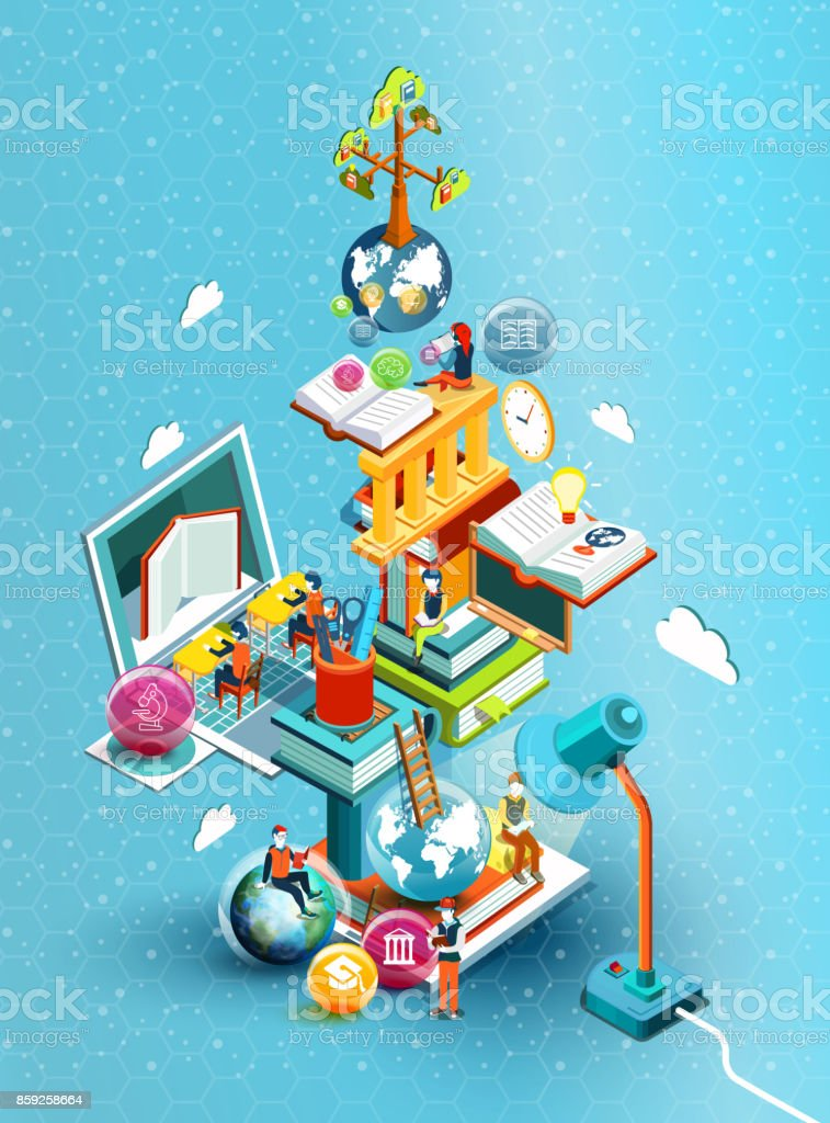 A tower of books with reading people.  Educational concept. Online library. Online education isometric flat design on blue background. Vector illustration royalty-free a tower of books with reading people educational concept online library online education isometric flat design on blue background vector illustration stock illustration - download image now
