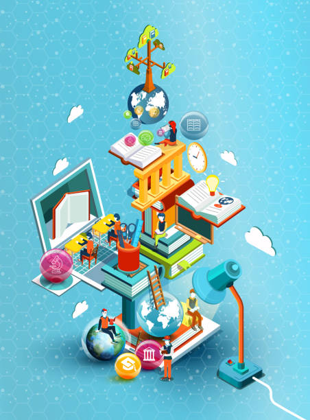 a tower of books with reading people.  educational concept. online library. online education isometric flat design on blue background. vector illustration - science class stock illustrations, clip art, cartoons, & icons