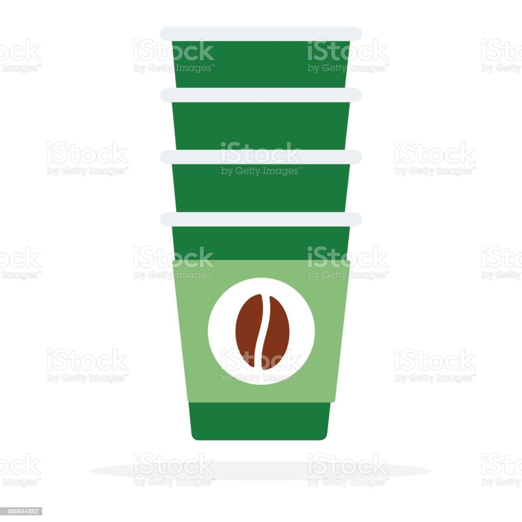 Tower of disposable cups vector flat isolated vector art illustration