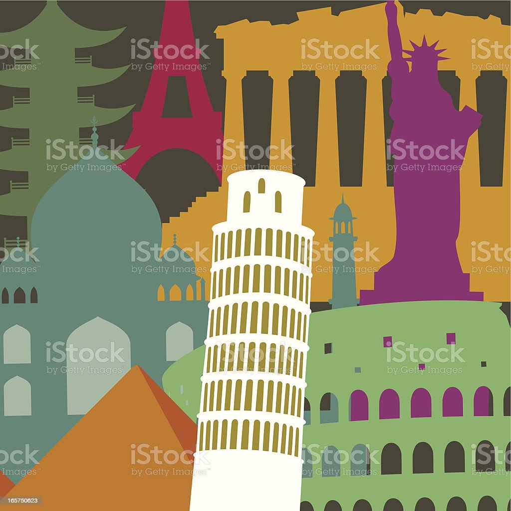 Tower of Pisa and monuments background royalty-free stock vector art
