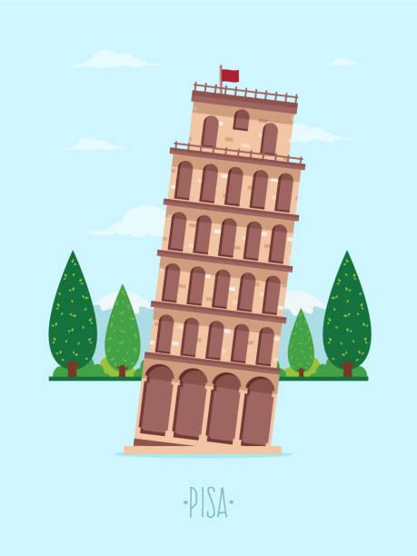 stockillustraties, clipart, cartoons en iconen met toren van pisa - pisa