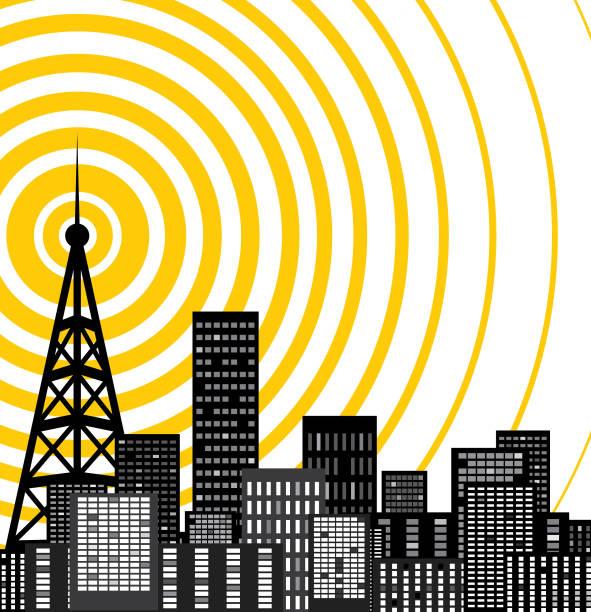 tower transmitter illustration technology communications tower stock illustrations
