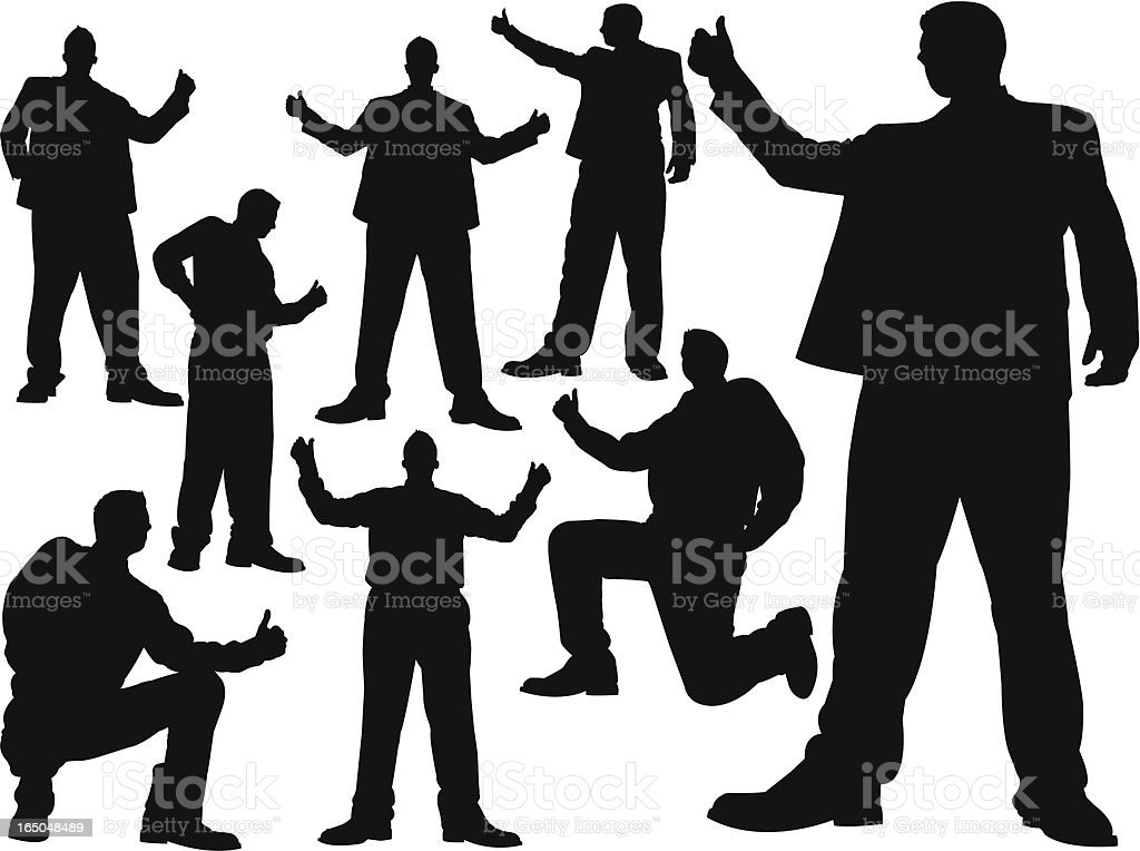 Towering Thumbs Up Businessman royalty-free stock vector art