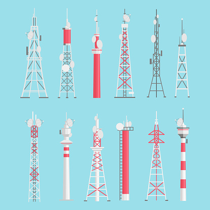 Towers flat vector illustrations set. Telecommunication, electric, radio towers pack isolated on blue background. Media information technology. Antenna red and white design elements collection.
