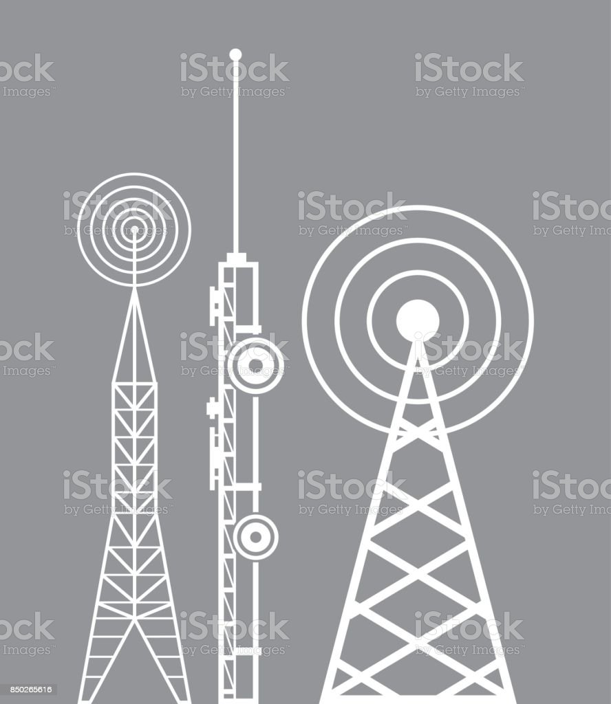 towers telecommunication television radio vector art illustration