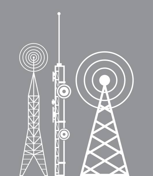 towers telecommunication television radio towers telecommunication television radio vector illustration eps 10 repeater tower stock illustrations