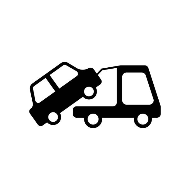 Royalty Free Towing Truck Icon Flat Graphic Design Clip Art Vector
