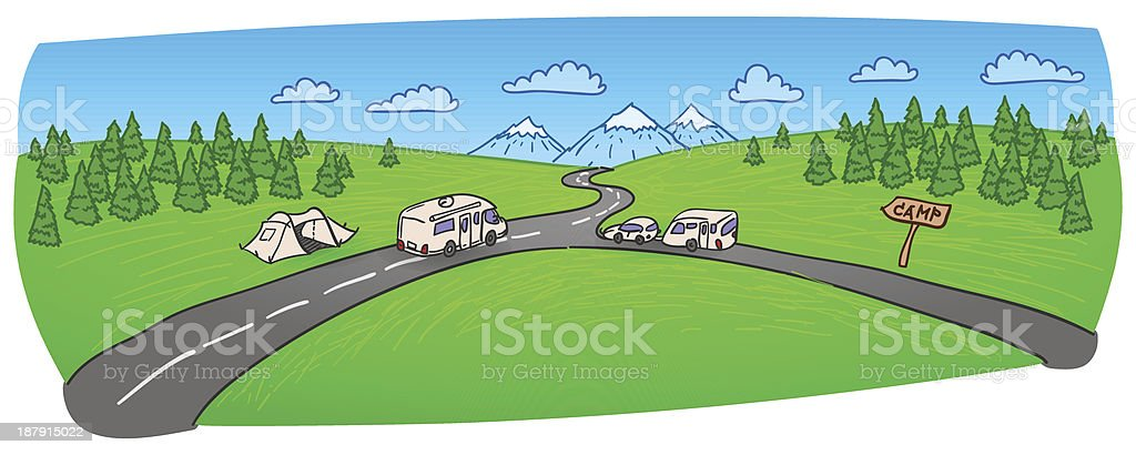 Towing Caravan on the Road royalty-free stock vector art