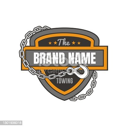 illustration of chain and towing, illustration for towing service logo template.