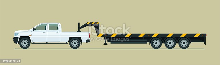 istock Towing pickup truck with trailer isolated. Vector flat style illustration. 1296129171