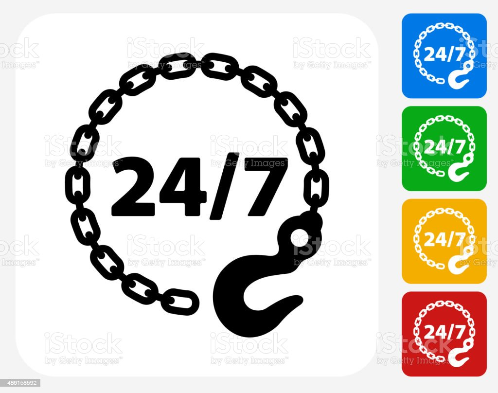 24/7 Towing Service Icon Flat Graphic Design vector art illustration