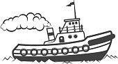 Towing ship illustration isolated on white background. Design elements for label, emblem, sign. Vector illustration