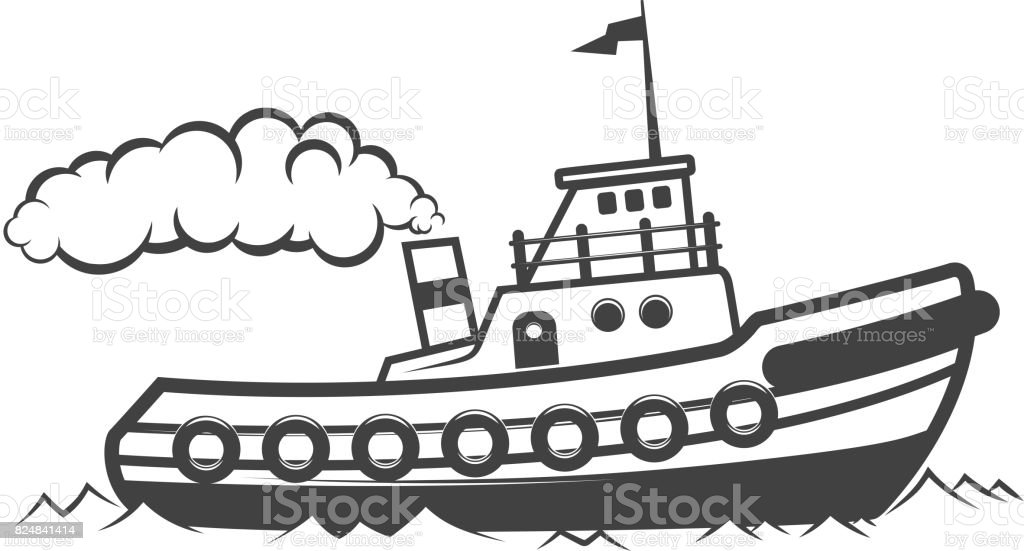 Royalty Free Cartoon Of Tug Boat Clip Art, Vector Images
