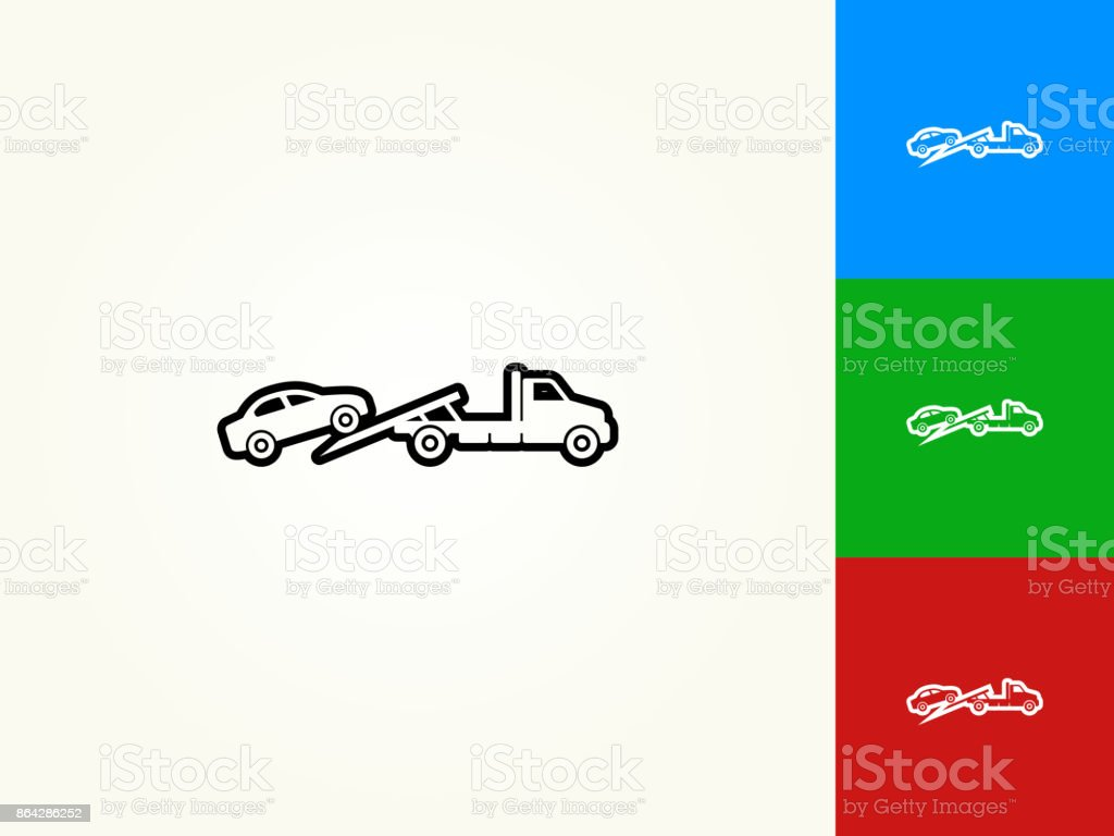 Towing Truck Black Stroke Linear Icon royalty-free towing truck black stroke linear icon stock vector art & more images of black color