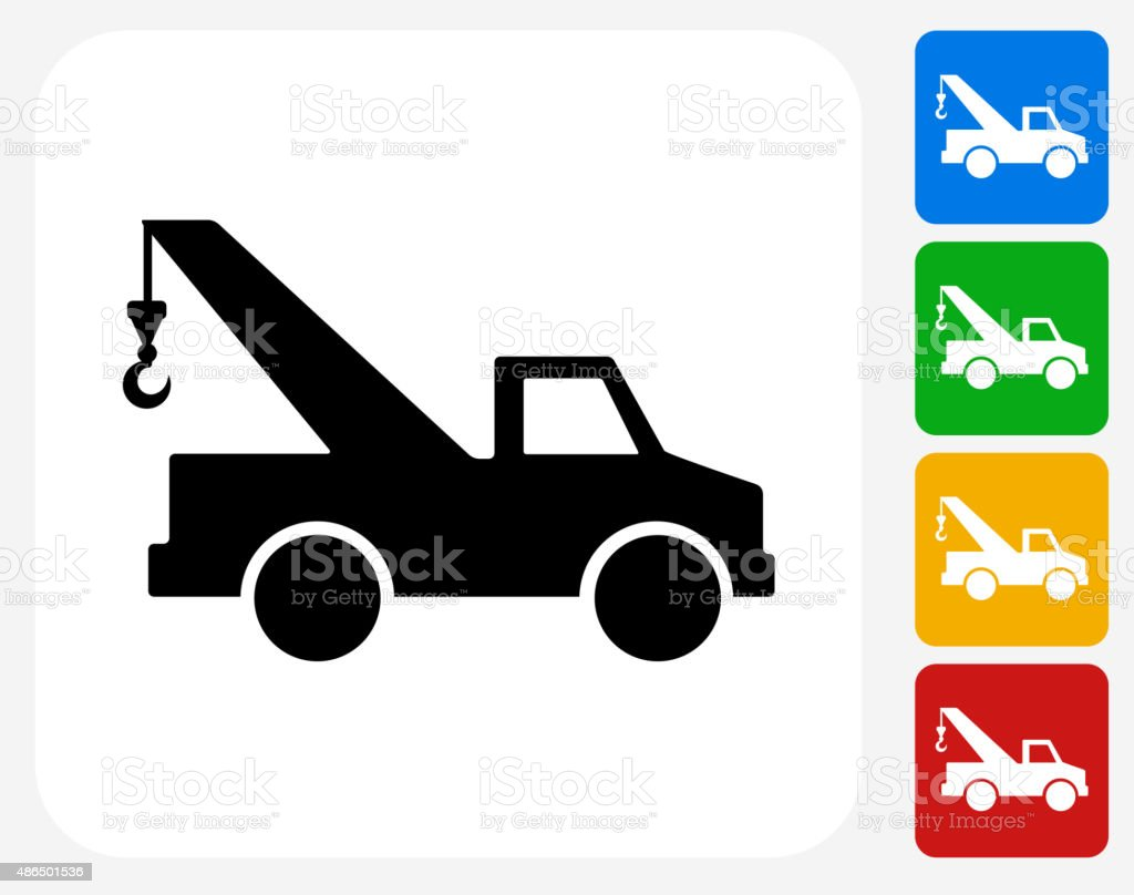 Towing Truck Icon Flat Graphic Design vector art illustration