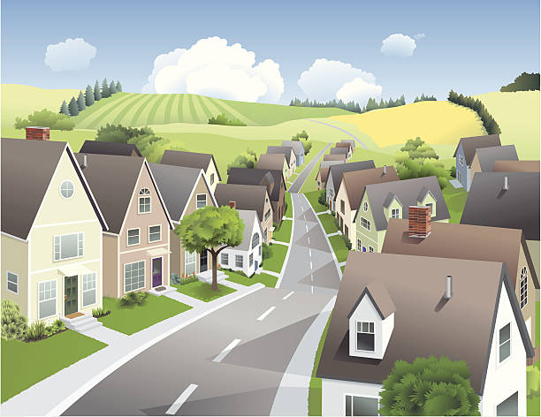 miasto i kraj - suburbs stock illustrations
