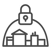 Town and padlock line icon, coronavirus epidemic concept, city locked down because of virus sign on white background, quarantine for protection of coronavirus disease icon, outline. Vector