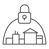 Town and padlock thin line icon, coronavirus epidemic concept, city locked down because of virus sign on white background, quarantine for protection of coronavirus disease icon, outline. Vector