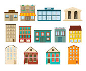 Town and suburban buildings icons on white background