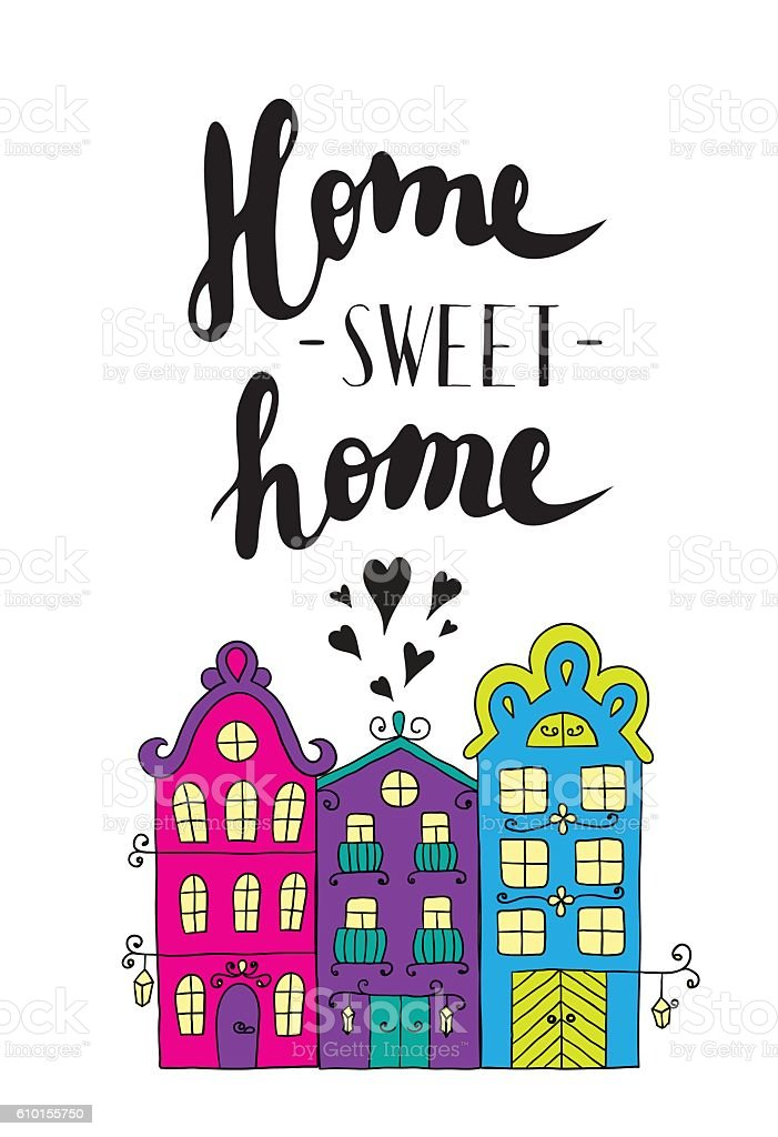 City Streets With Phrase Welcome Home. Vector Art Illustration ...