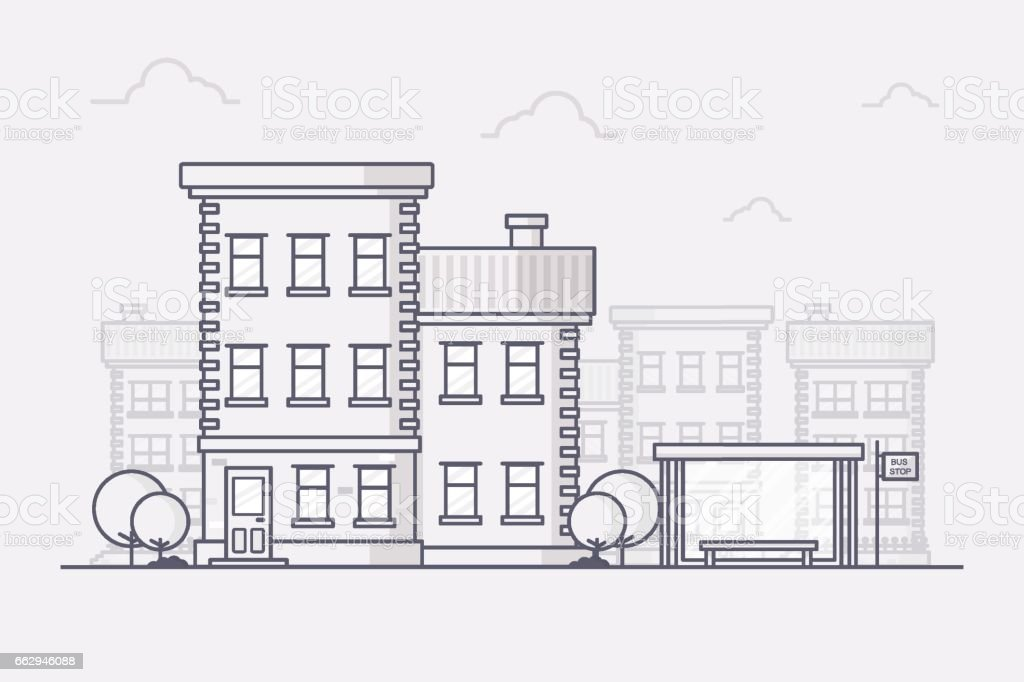 Town Building with Bus Stop - Illustration vectorielle