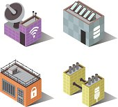A set of 3d Isometric building icons. Icons symbolize Wifi, Internet access, Data or energy storage, File protection or locked access, and computer networks.