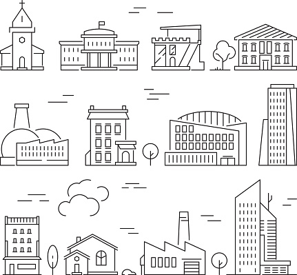 Town buildings icon. Urban architecture village houses factory living rooms exterior walls vector linear pictures set