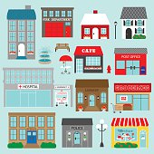 town buildings vector clipart
