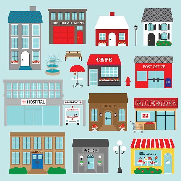 town buildings vector clipart town buildings vector clipart community clipart stock illustrations
