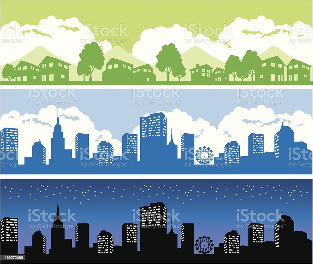 town city set vector art illustration