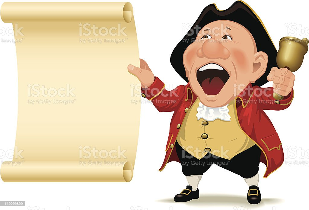 Town Crier and scroll royalty-free stock vector art