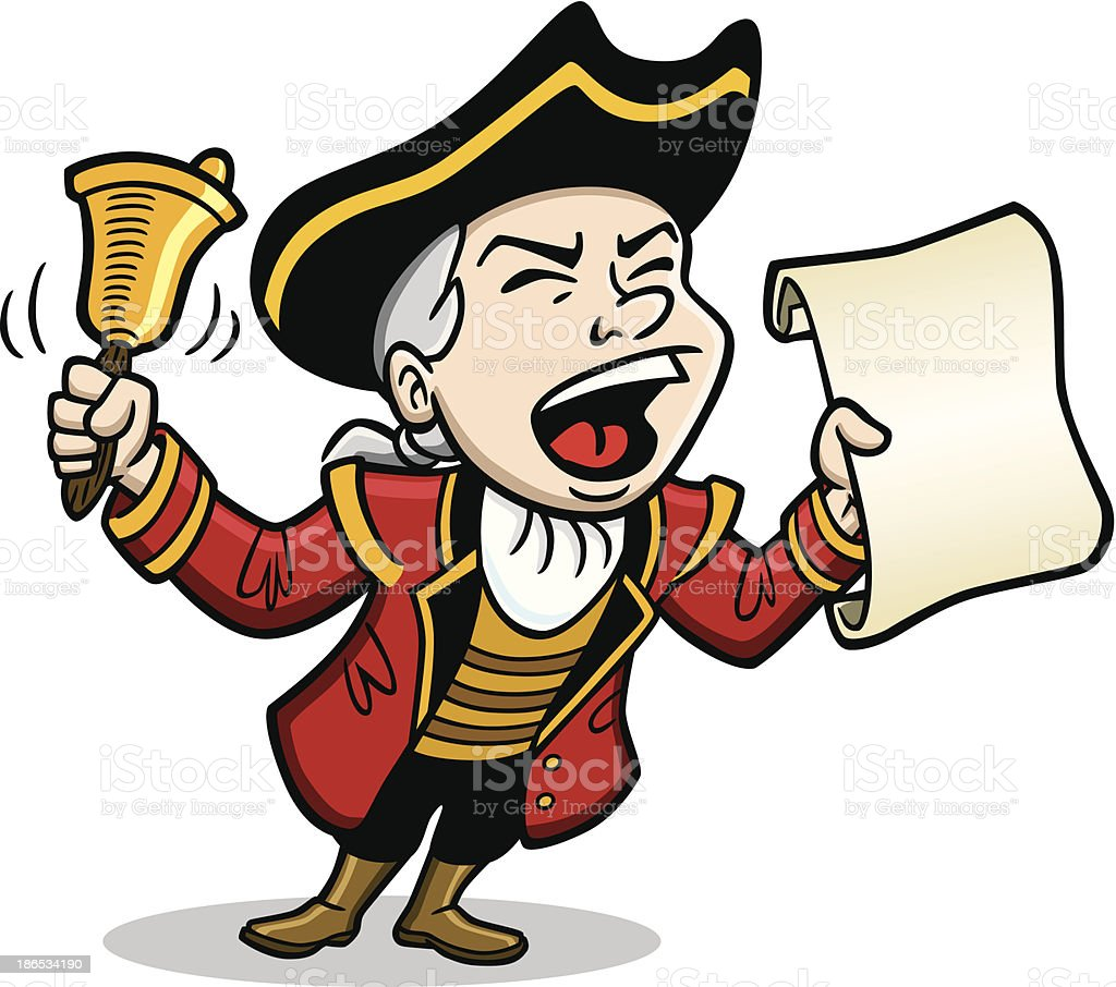 Town Crier Yelling Message vector art illustration