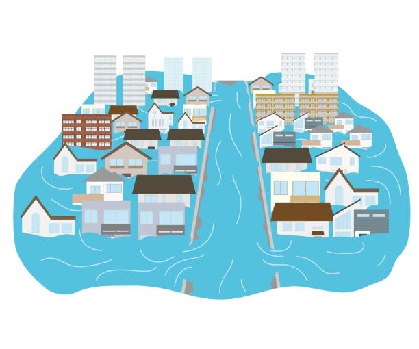 town flooded with heavy rains and rivers flooded vector art illustration