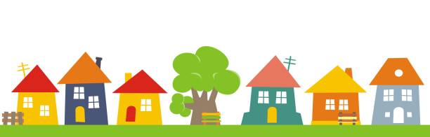 Town, group of houses Town, group of houses. Vector  icon. Colored silhouette of houses with banch and tree. community clipart stock illustrations