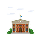 Isolated vector icon of neo-classical town hall building