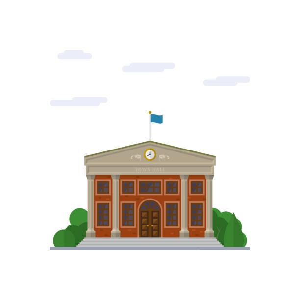 stockillustraties, clipart, cartoons en iconen met stadhuis platte ontwerp vectorillustratie - gemeentehuis