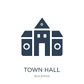 town hall icon vector on white background, town hall trendy filled icons from Buildings collection