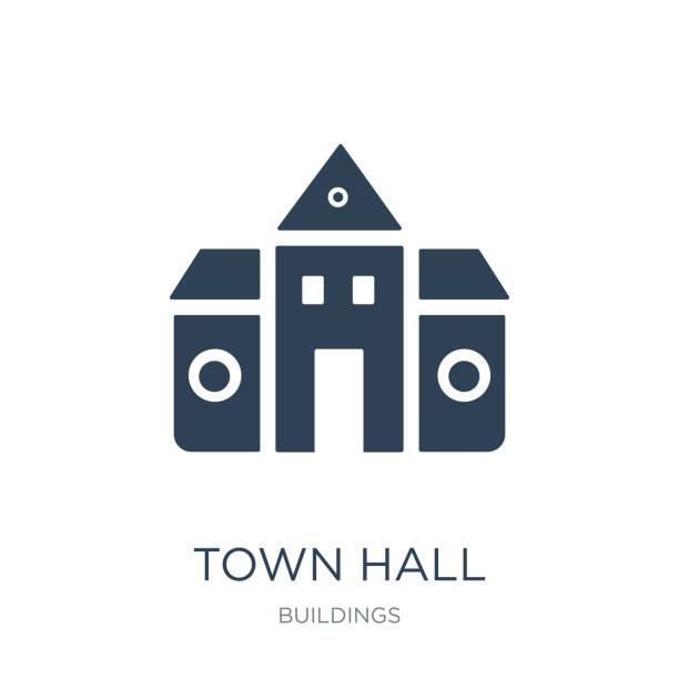 stockillustraties, clipart, cartoons en iconen met stadhuis pictogram vector op witte achtergrond, stadhuis trendy vulling - gemeentehuis