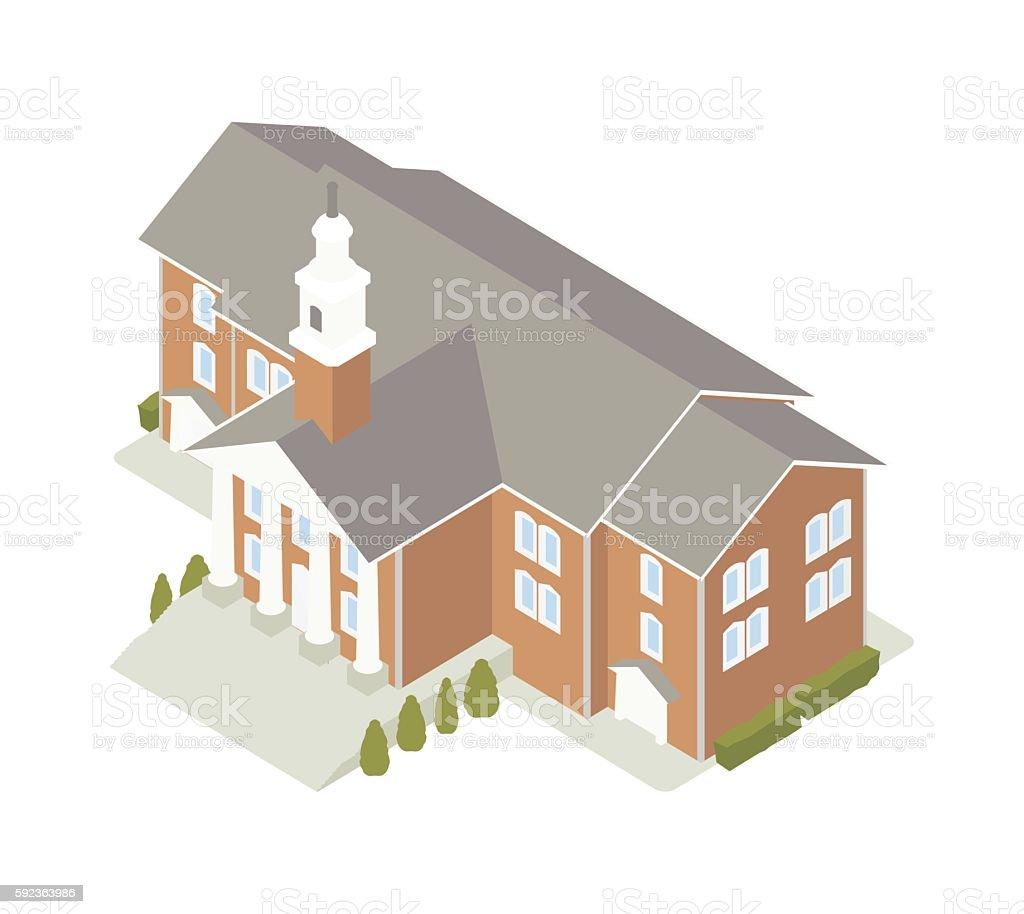 Town hall isometric illustration