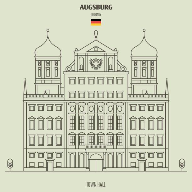 Rathaus von Augsburg, Deutschland. Landmark-Symbol – Vektorgrafik