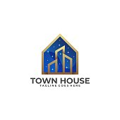 Town House Illustration Vector Template. Suitable for Creative Industry, Multimedia, entertainment, Educations, Shop, and any related business.