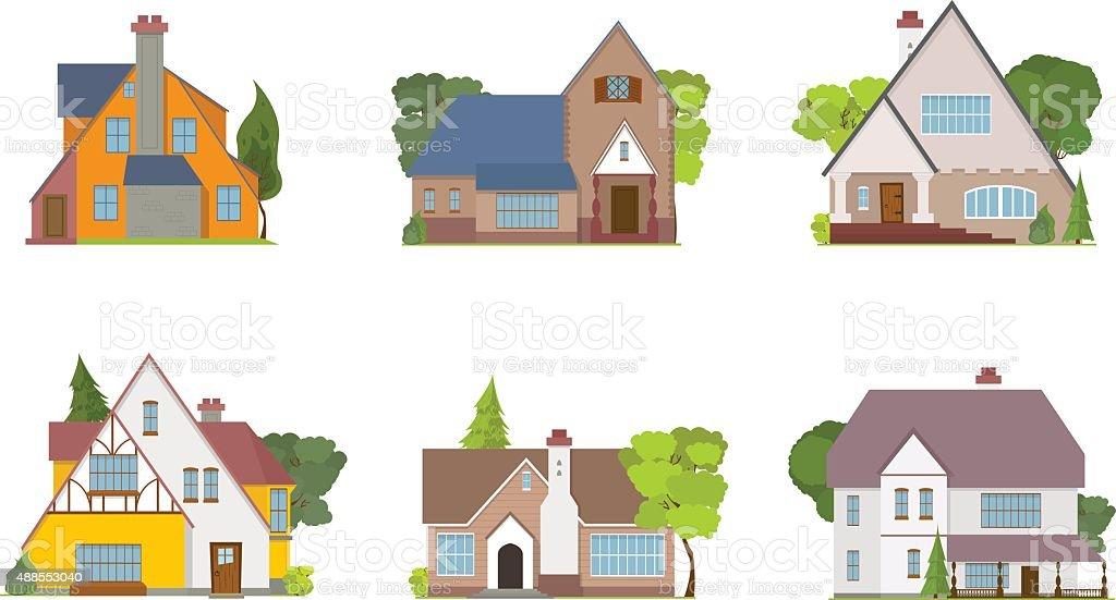 La ville des maisons et des cottages - Illustration vectorielle