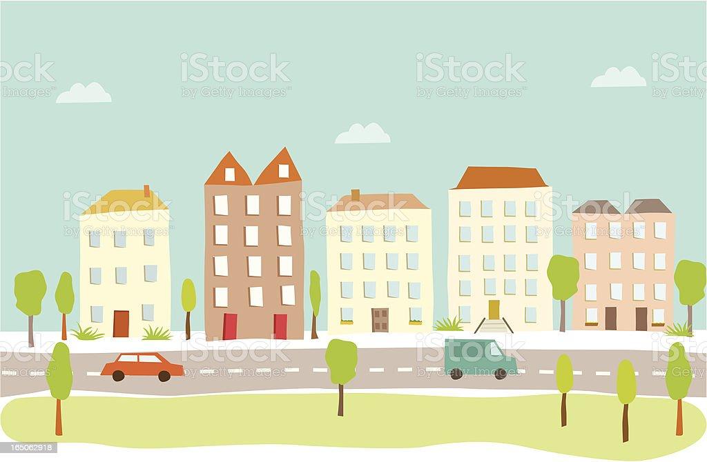 Town Houses vector art illustration