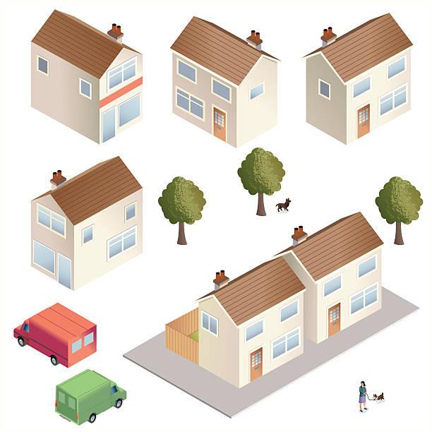 stadt häusern - ziegelwände stock-grafiken, -clipart, -cartoons und -symbole