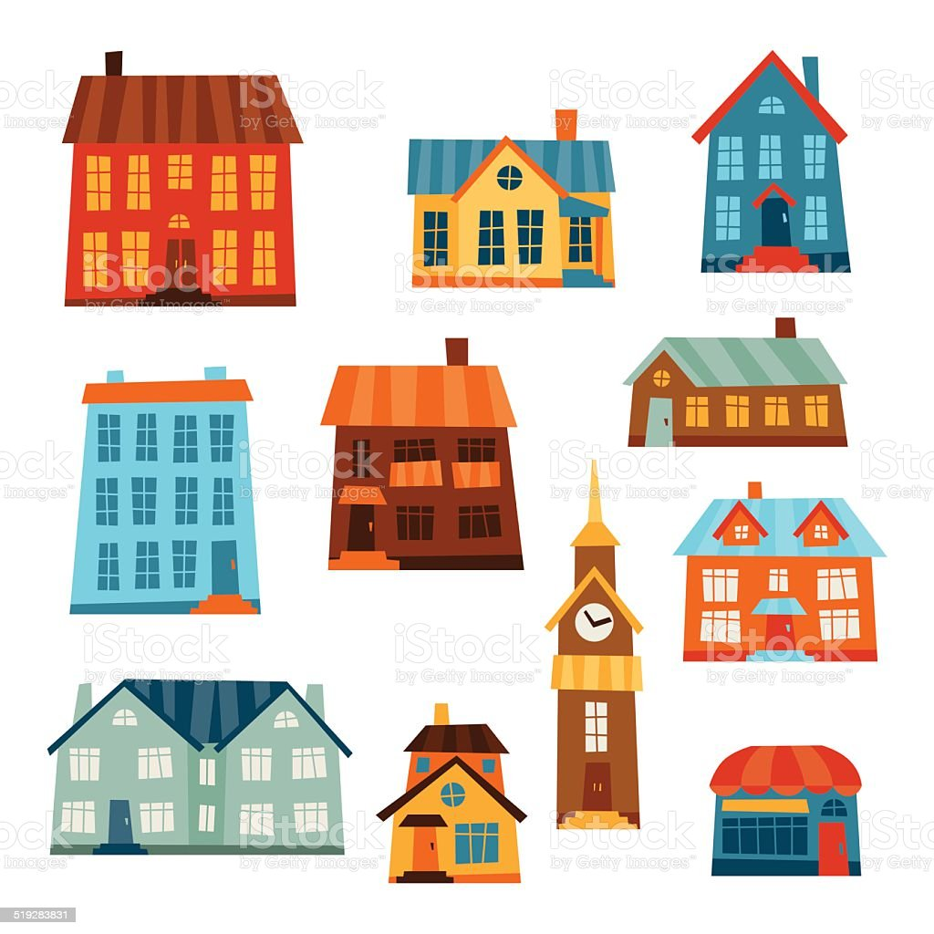 Town icon set of cute colorful houses. vector art illustration